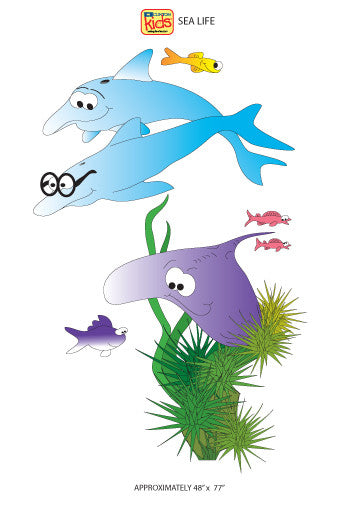 "Wall Stickers for Pediatric Exam Rooms - Sea Life - 48"" x 77"" -"
