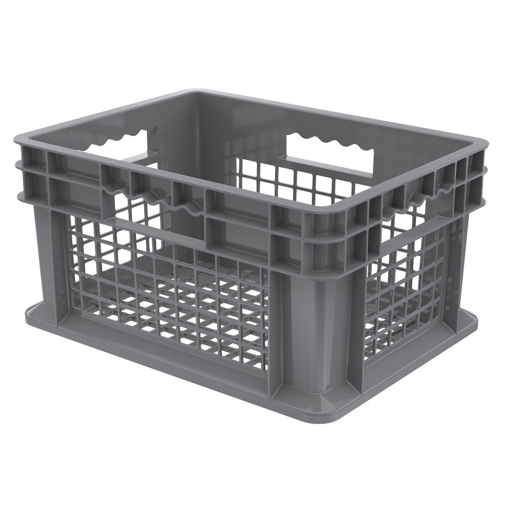 Akro-Mils Straight Wall Container - Mesh 15-3/4 x 11-3/4 x 8-1/4 - Gray