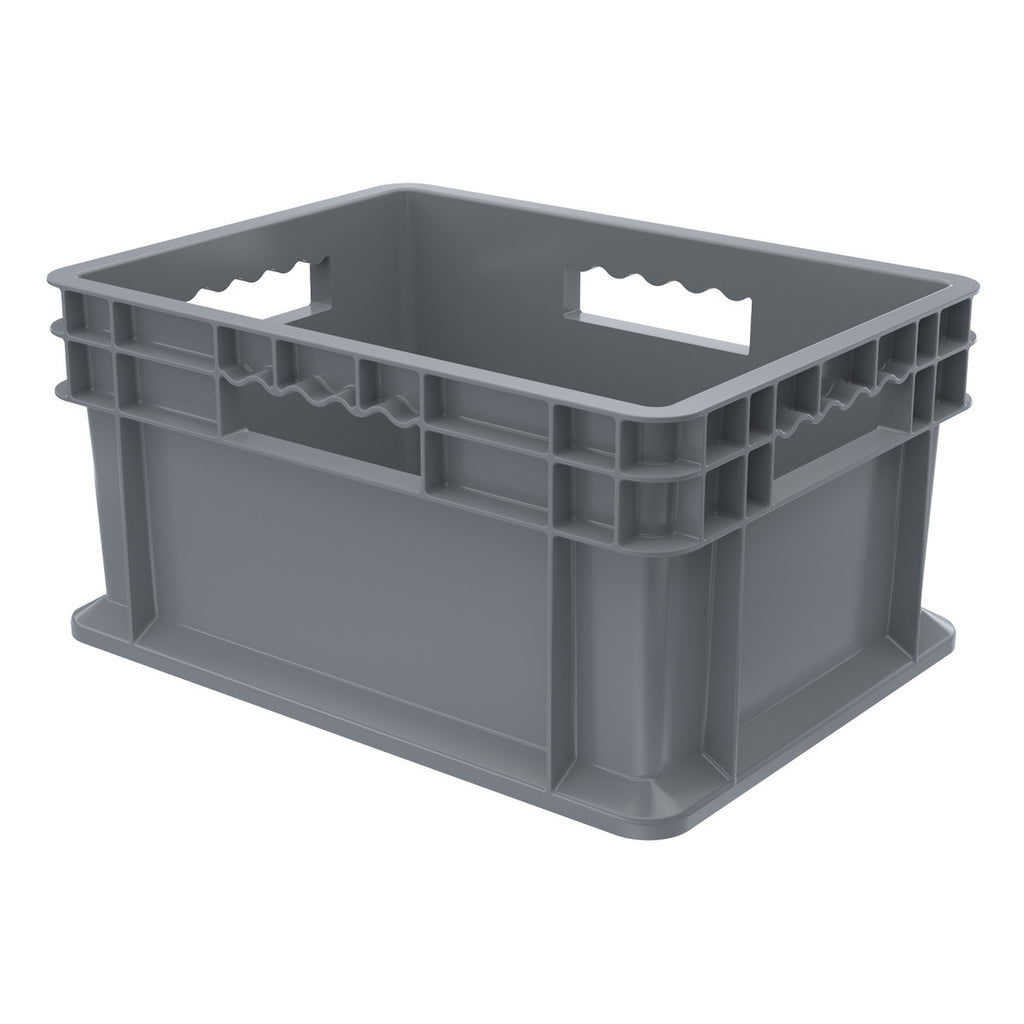 Akro-Mils Straight Wall Container - Solid 15-3/4 x 11-3/4 x 8-1/4 - Gray