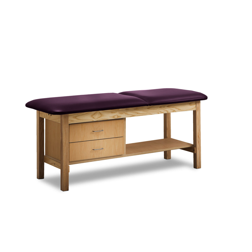 Classic Treatment Table with Drawers & Silver Wire Pulls - PurpleGray -
