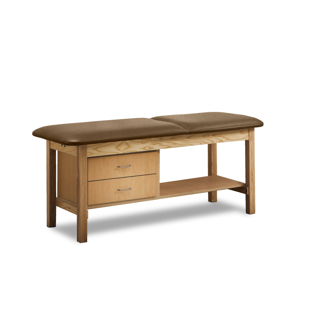 Classic Treatment Table with Drawers & Silver Wire Pulls - Desert Tan -