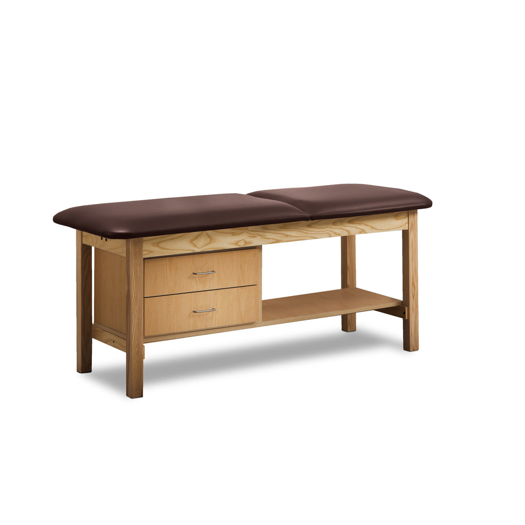 Classic Treatment Table with Drawers & Silver Wire Pulls - Burgundy -