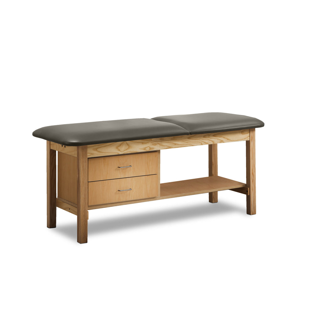 Classic Treatment Table with Drawers & Silver Wire Pulls - Warm Gray -
