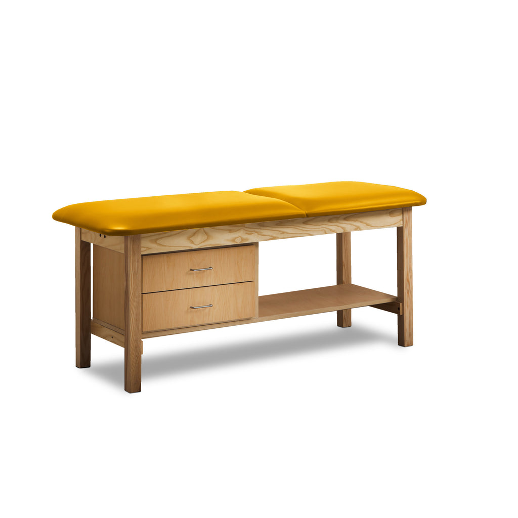 Classic Treatment Table with Drawers & Silver Wire Pulls - Yellow -
