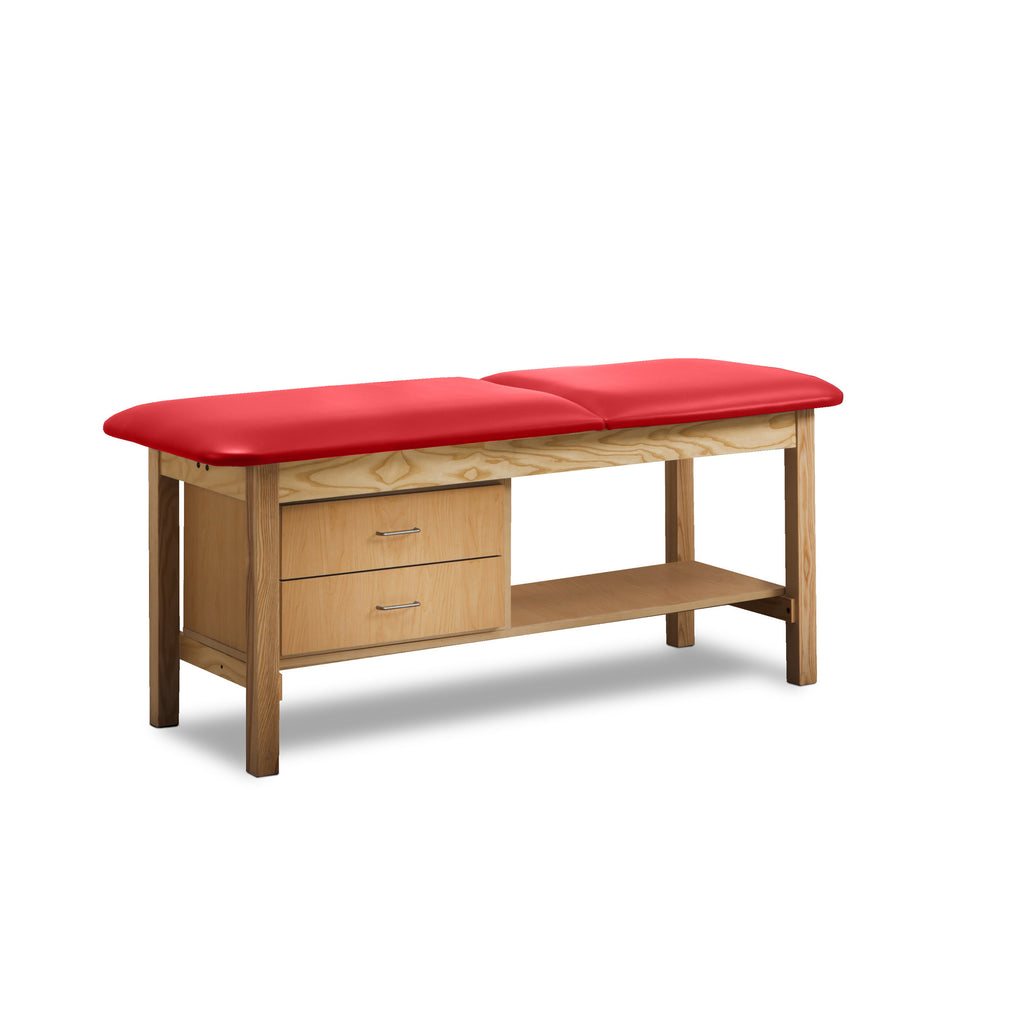 Classic Treatment Table with Drawers & Silver Wire Pulls - Tomato -