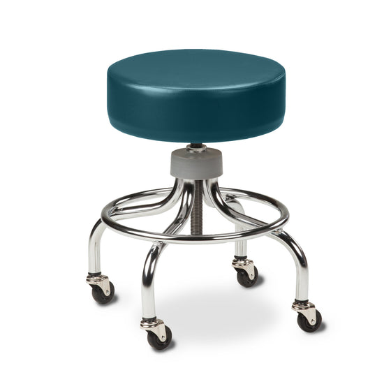 Chrome Base Stool with Round Foot Ring - Slate Blue -