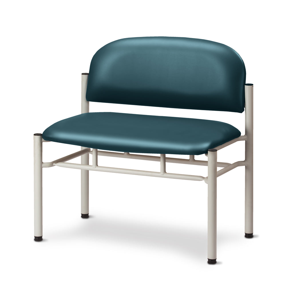 Extra Wide Gray Frame Waiting Room Chair - Slate Blue -