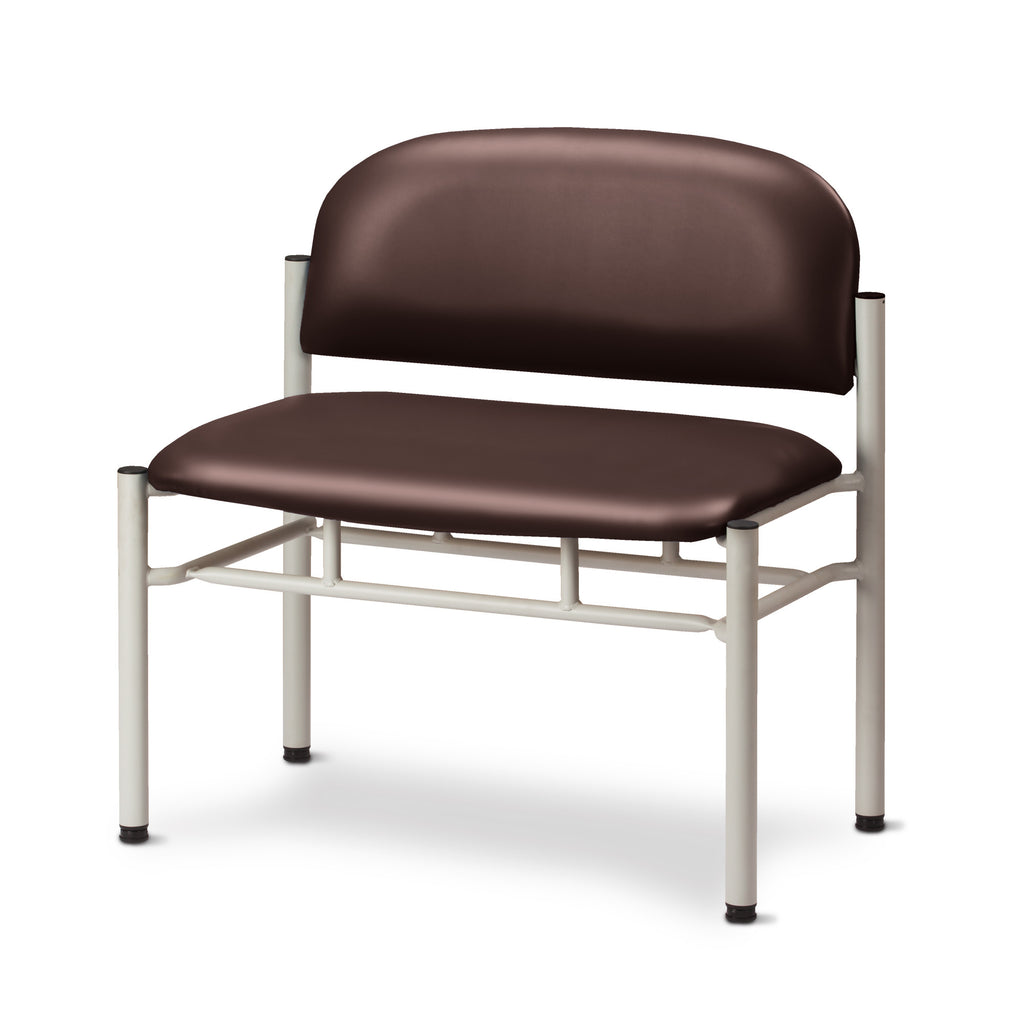 Extra Wide Gray Frame Waiting Room Chair - Burgundy -