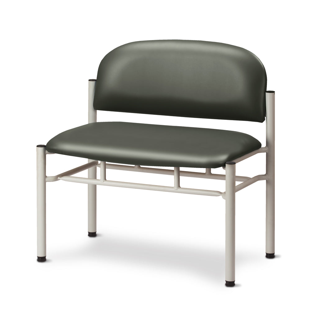 Extra Wide Gray Frame Waiting Room Chair - Gunmetal -