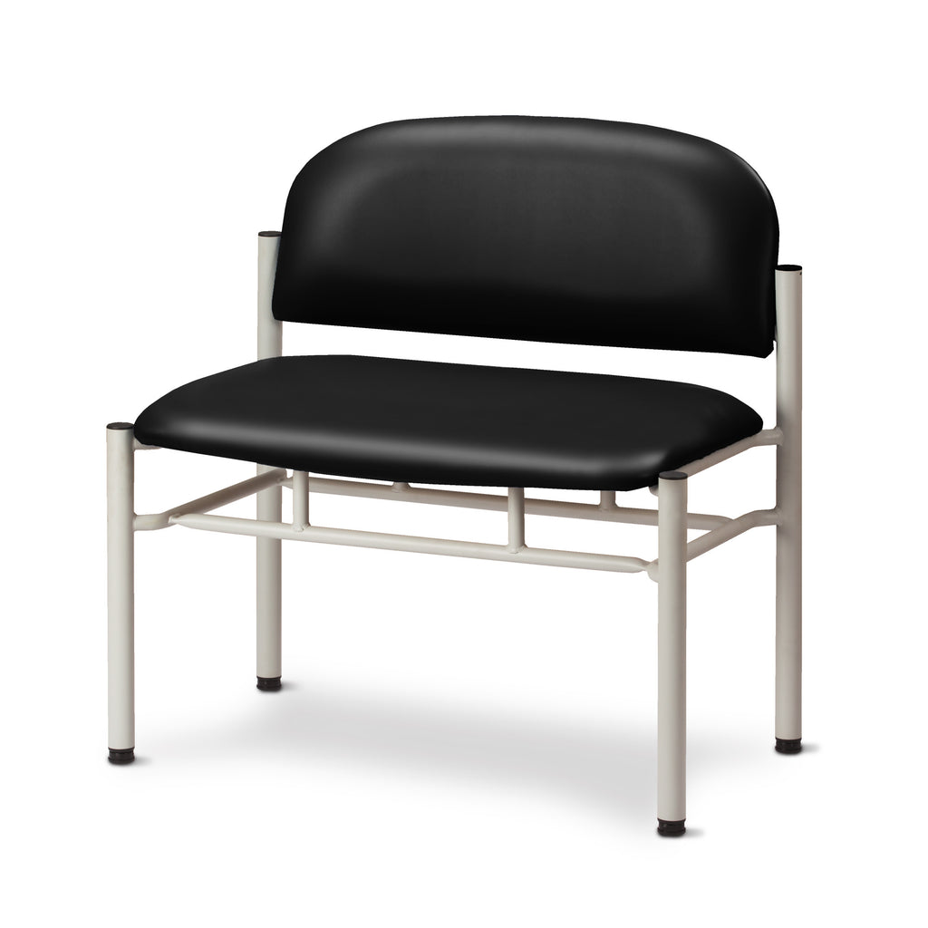 Extra Wide Gray Frame Waiting Room Chair - Black -