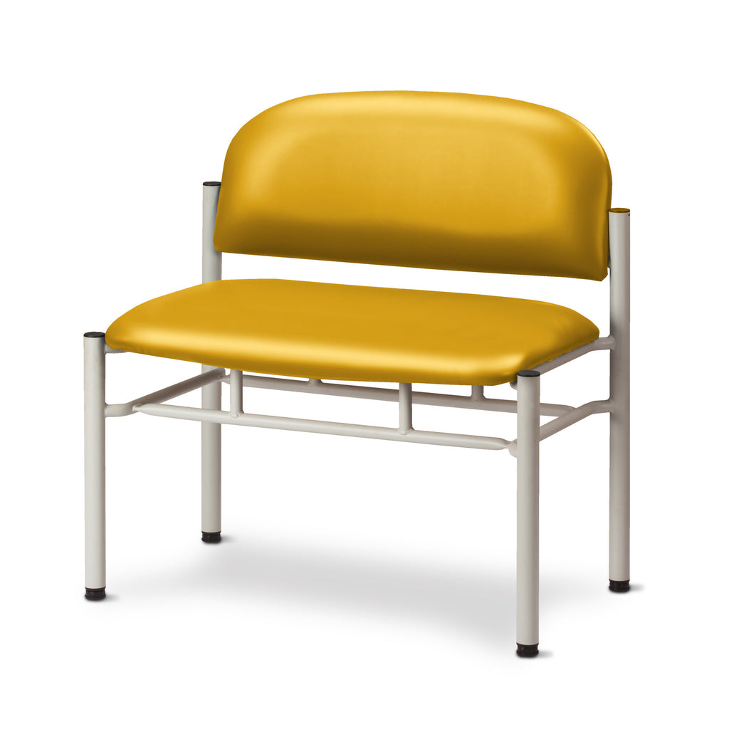 Extra Wide Gray Frame Waiting Room Chair - Yellow -