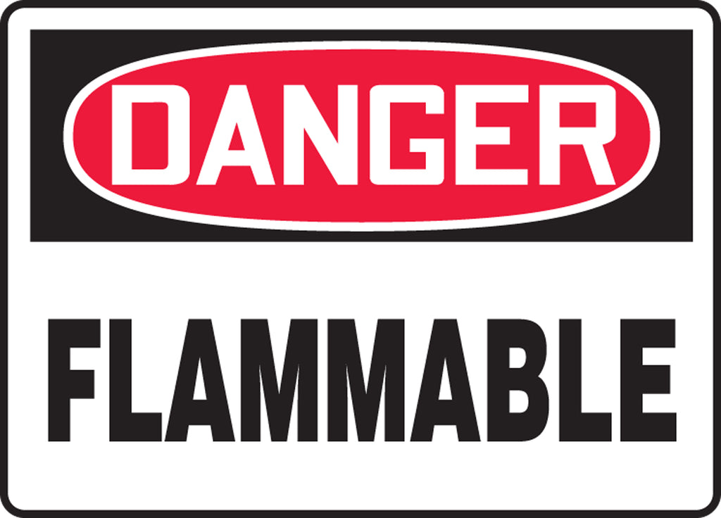 "Safety Sign - DANGER FLAMMABLE - 10"" x 14"""
