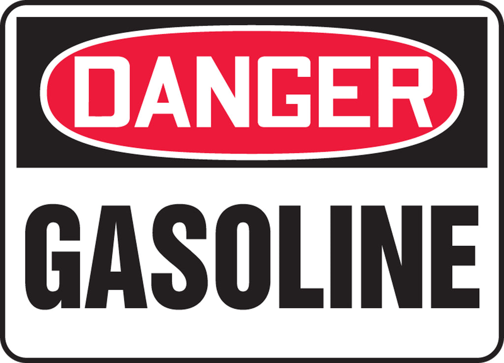 "Safety Sign - DANGER GASOLINE - 10"" x 14"""