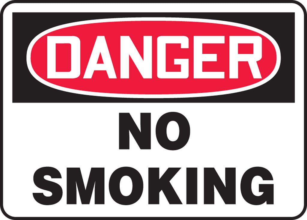 "Safety Sign - DANGER NO SMOKING - 10"" x 14"""
