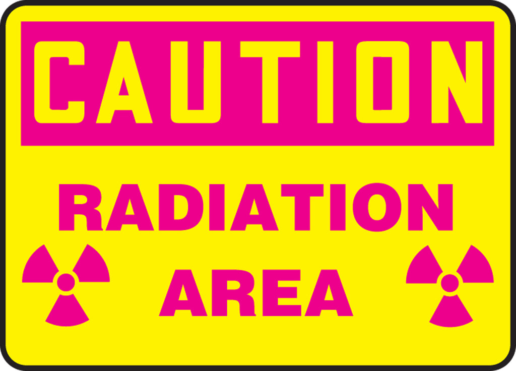 "Safety Sign - CAUTION RADIATION AREA - 10"" x 14"""