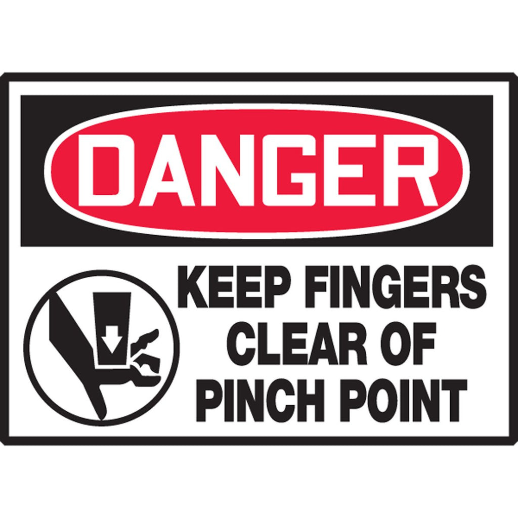 "Safety Label - DANGER KEEP FINGERS CLEAR OF PINCH POINT - 3.5"" x 5"""