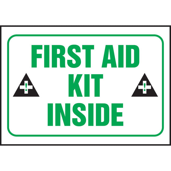 "Safety Label - FIRST AID KIT INSIDE - 3.5"" x 5"""
