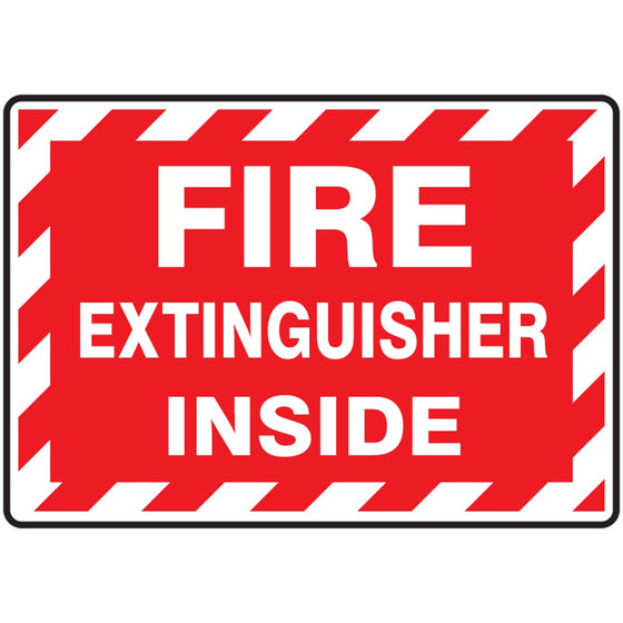 "Safety Label - FIRE EXTINGUISHER INSIDE - 3.5"" x 5"""