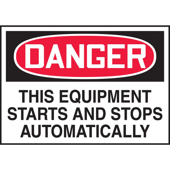 "Safety Label - DANGER THIS EQUIPMENT STARTS AND STOPS AUTOMATICALLY - 3.5"" x 5"""