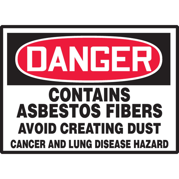 "Safety Label - DANGER CONTAINS ASBESTOS FIBERS AVOID CREATING DUST CANCER AND LUNG DISEASE HAZARD - 3.5"" x 5"""