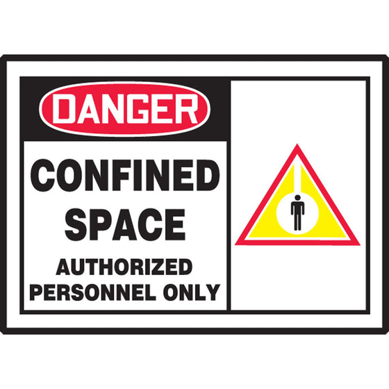 "Safety Label - DANGER CONFINED SPACE AUTHORIZED PERSONNEL ONLY - 3.5"" x 5"""