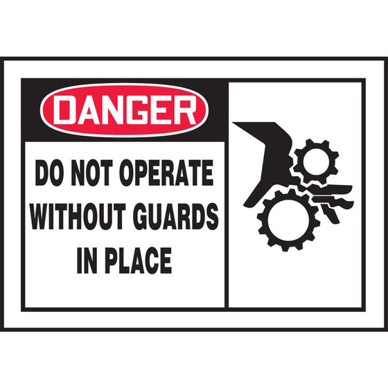 "Safety Label - DANGER DO NOT OPERATE WITHOUT GUARDS IN PLACE - 3.5"" x 5"""