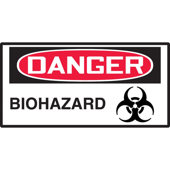 "Safety Label - DANGER BIOHAZARD - 1.5"" x 3"""