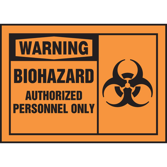 "Safety Label - WARNING BIOHAZARD AUTHORIZED PERSONNEL ONLY - 3.5"" x 5"""