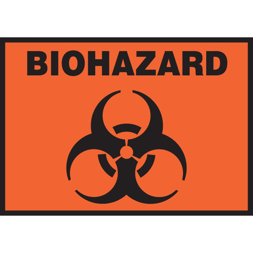 "Safety Label - BIOHAZARD - 3.5"" x 5"""
