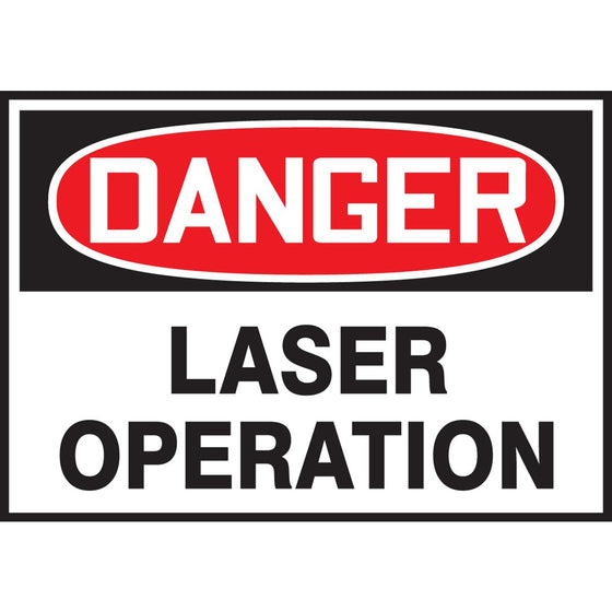 "Safety Label - DANGER LASER OPERATION - 3.5"" x 5"""