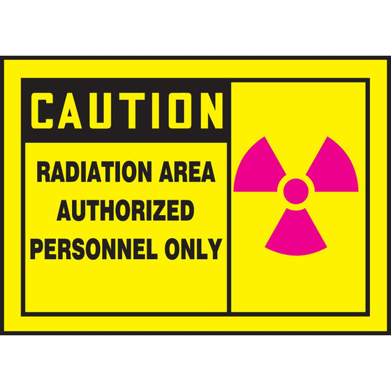 "Safety Label - CAUTION RADIATION AREA AUTHORIZED PERSONNEL ONLY - 3.5"" x 5"""