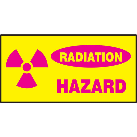 "Safety Label - RADIATION HAZARD - 3"" x 7"""