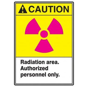 "Safety Label - CAUTION RADIATION AREA AUTHORIZED PERSONNEL ONLY - 5"" x 3.5"""