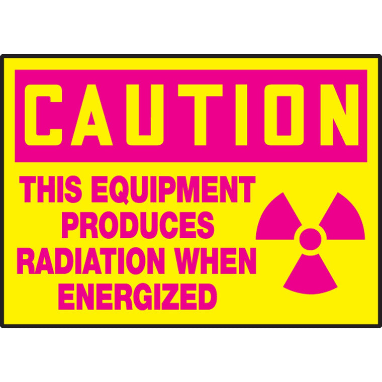 "Safety Label - CAUTION THIS EQUIPMENT PRODUCES RADIATION WHEN ENERGIZED - 3.5"" x 5"""