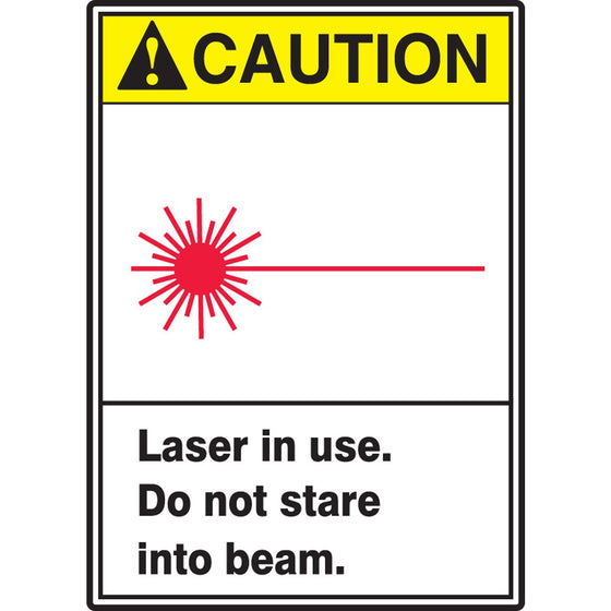 "Safety Label - CAUTION LASER IN USE DO NOT STARE INTO BEAM - 5"" x 3.5"""