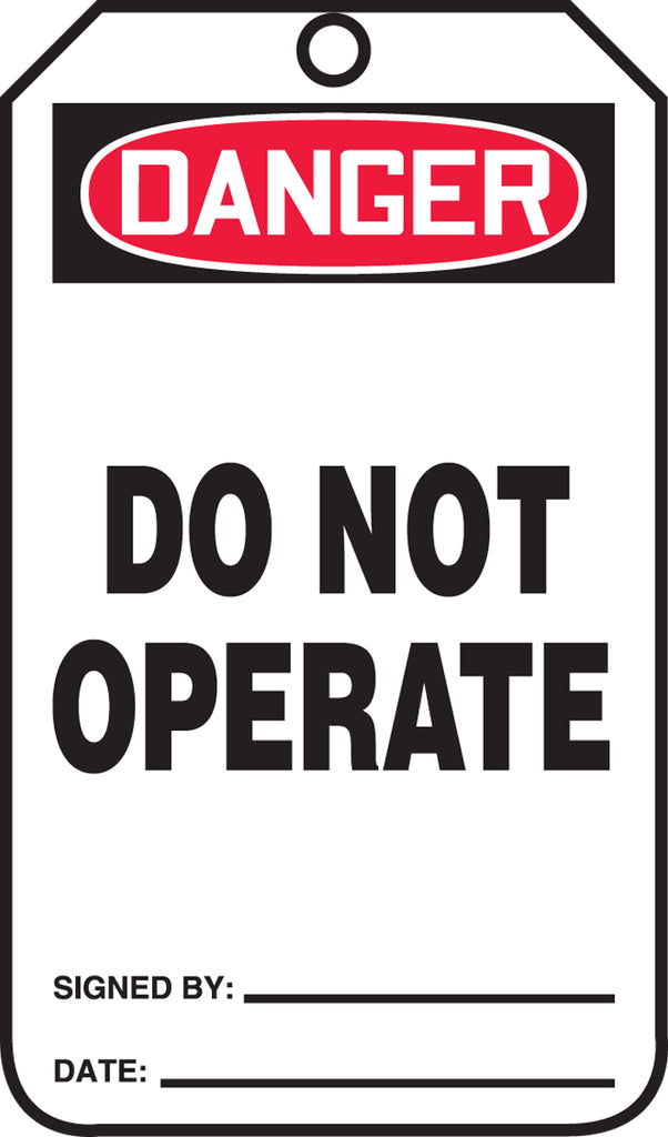 Safety Tag - DANGER DO NOT OPERATE - PF-Cardstock