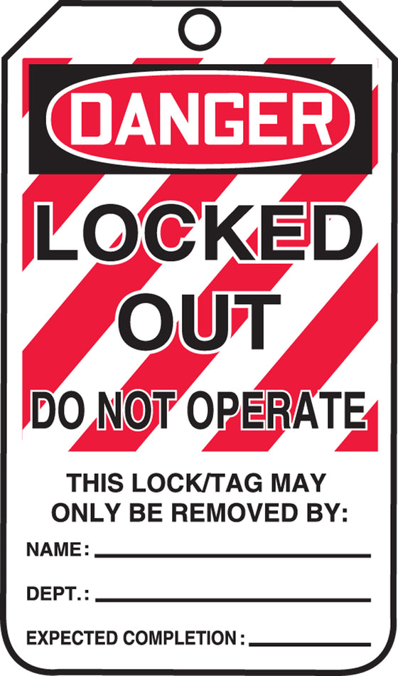 Lockout Tag - DANGER LOCKED OUT DO NOT OPERATE - RP-Plastic