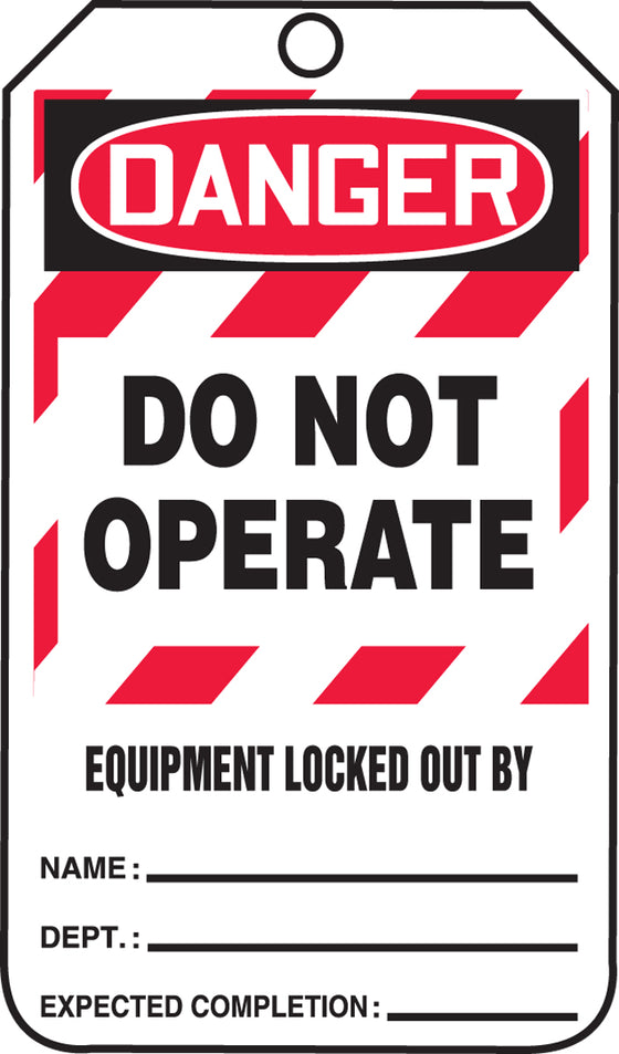 Lockout Tag - DANGER DO NOT OPERATE-EQUIPMENT LOCKED OUT BY - RP-Plastic