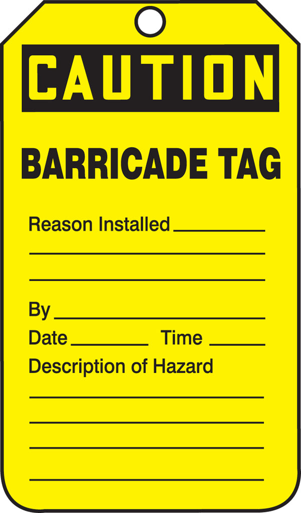 Barricade Tag - CAUTION BARRICADE TAG - RP-Plastic