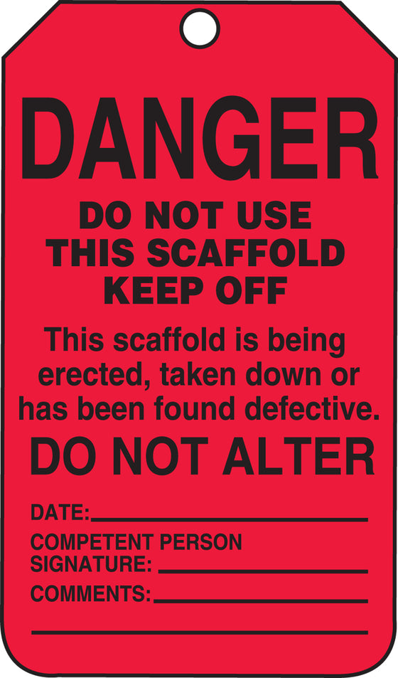 Scaffold Tag - DANGER DO NOT USE THIS SCAFFOLD KEEP OFF - RP-Plastic