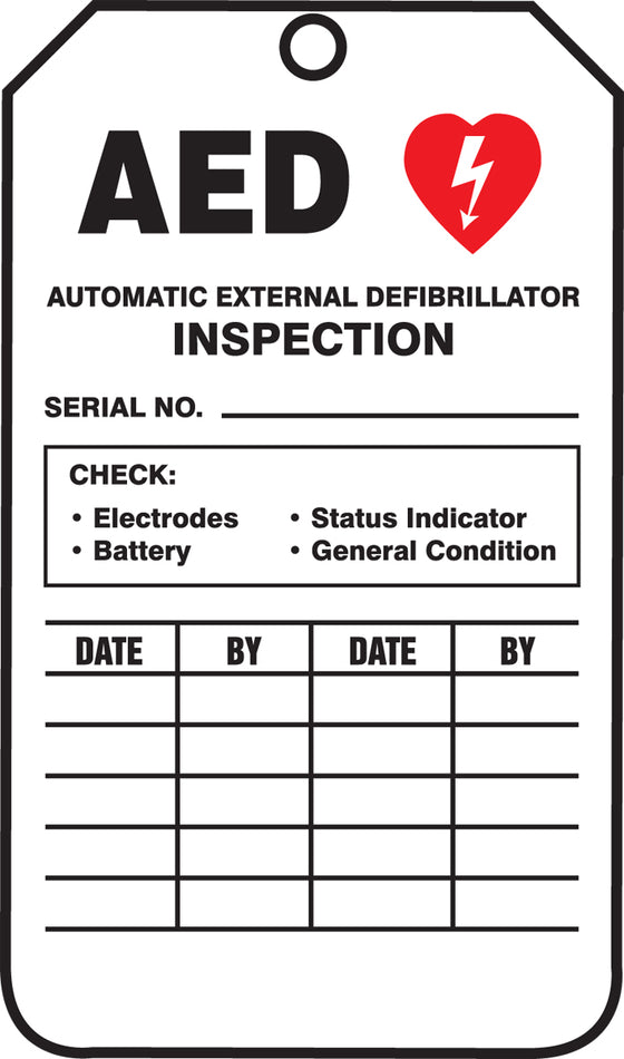 AED Status Safety Tag - AED INSPECTION TAG - PF-Cardstock