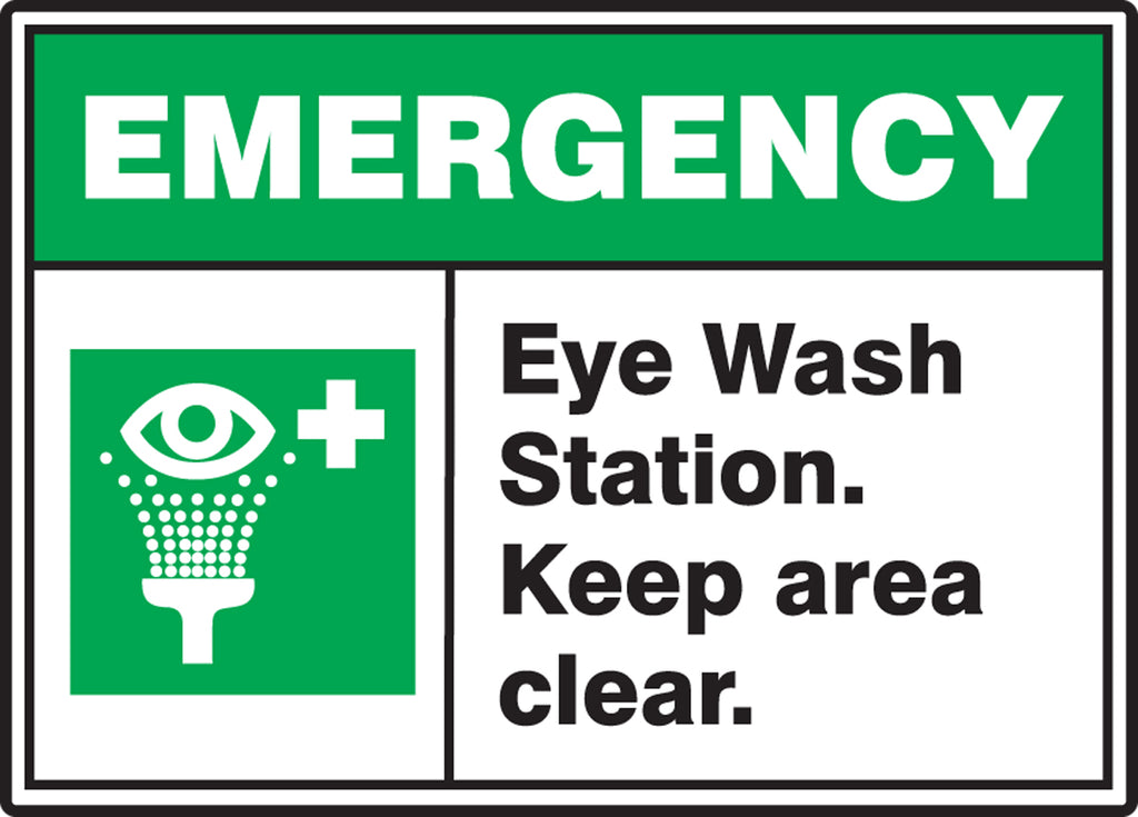 "Safety Sign - EMERGENCY EYE WASH STATION KEEP AREA CLEAR - 10"" x 14"""