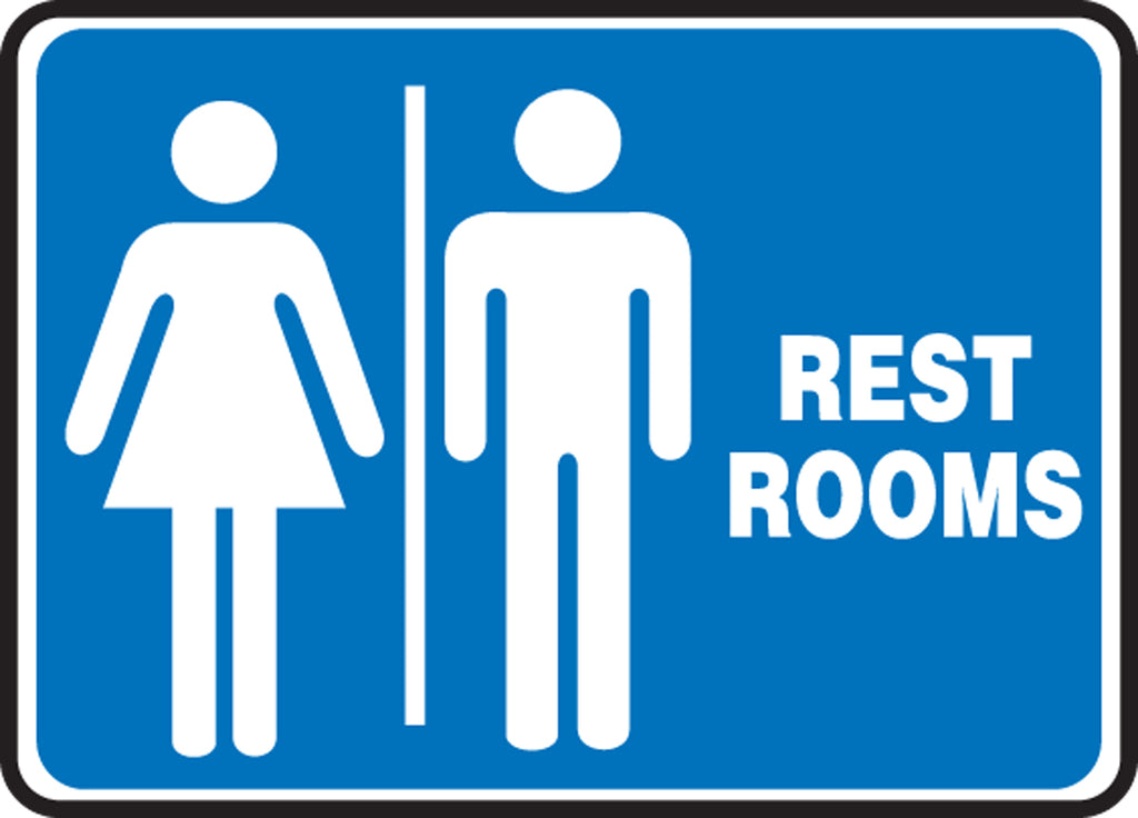 "Safety Sign - RESTROOMS - 10"" x 14"""