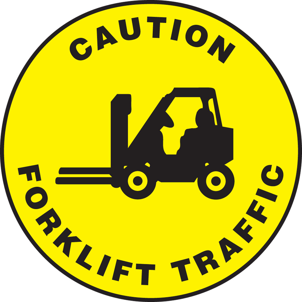 Slip-Gard™ Floor Sign - Caution Forklift Traffic - 8""