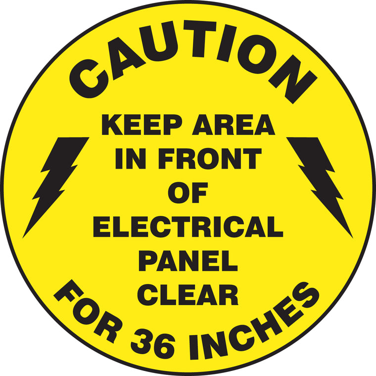 Slip-Gard™ Floor Sign - Caution Keep Area In Front Of Electrical Panel Clear For 36 Inches - Round 8""