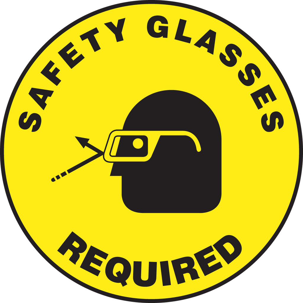 Slip-Gard™ Floor Sign - Safety Glasses Required - Round 17""