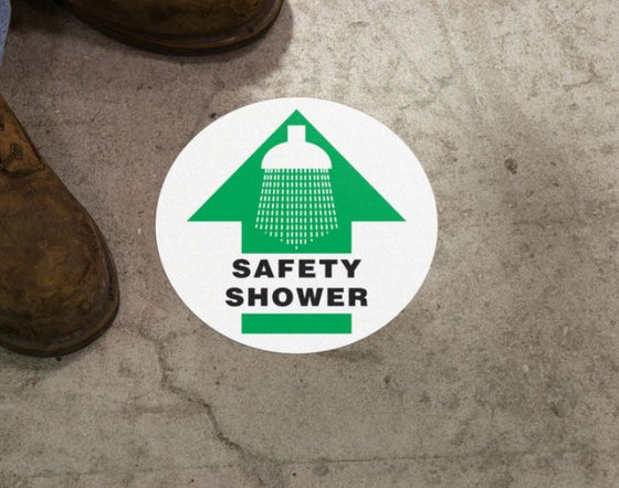 Slip-Gard™ Floor Sign - Safety Shower - Round 17""