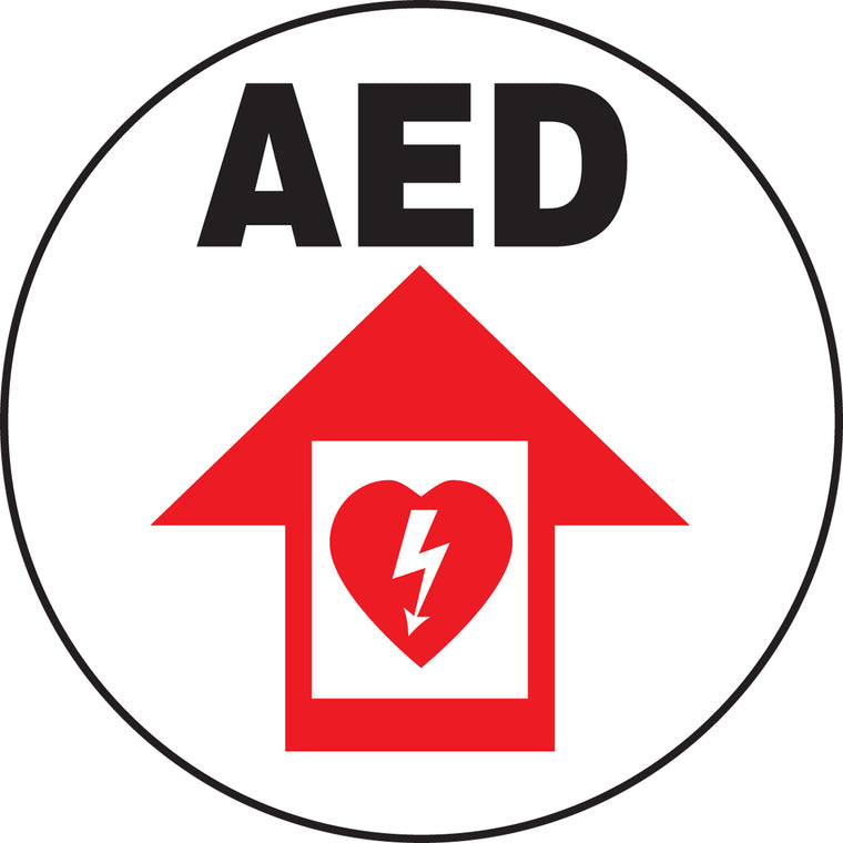 Slip-Gard™ Floor Sign - AED - Round 8""
