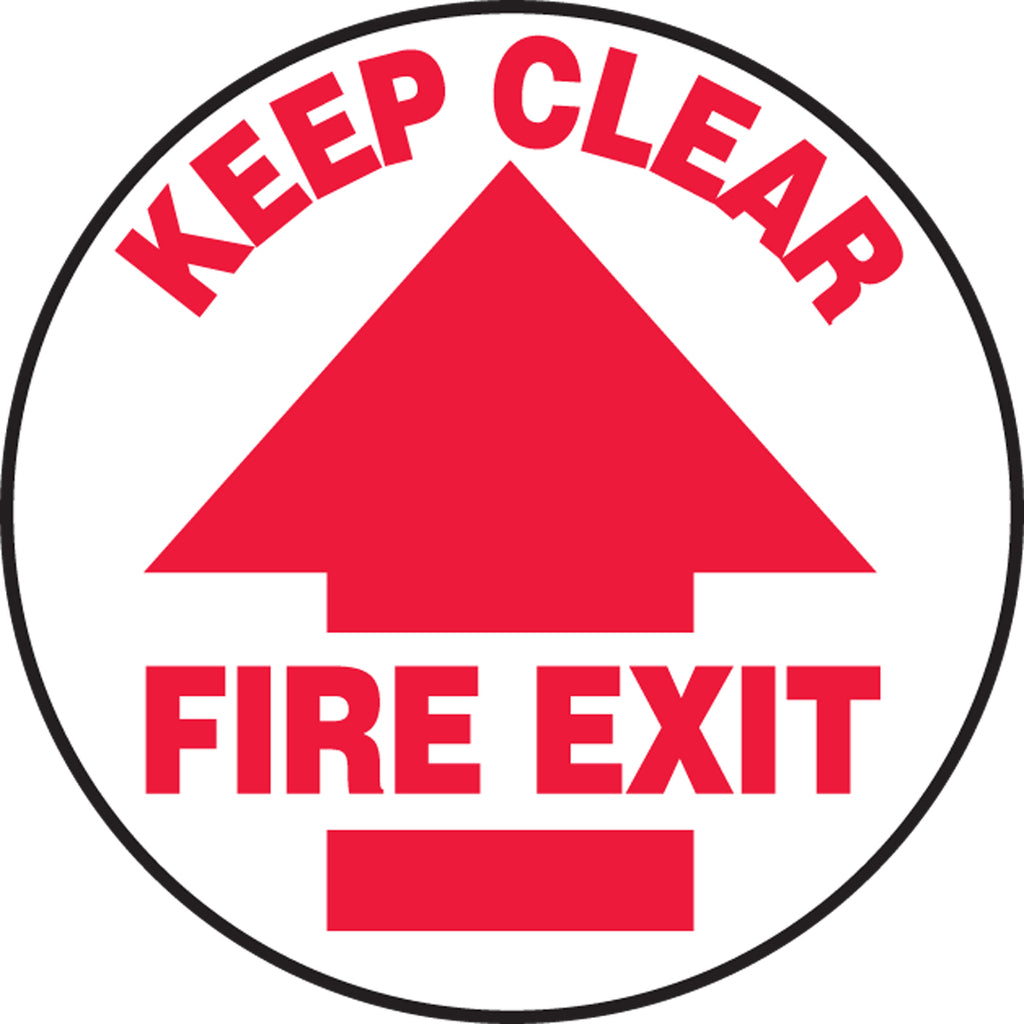 Slip-Gard™ Floor Sign - Keep Clear Fire Exit - Round 8""