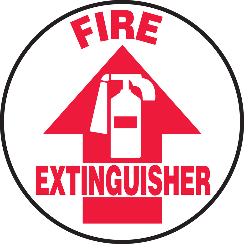 Slip-Gard™ Floor Sign - Fire Extinguisher - Round 8""